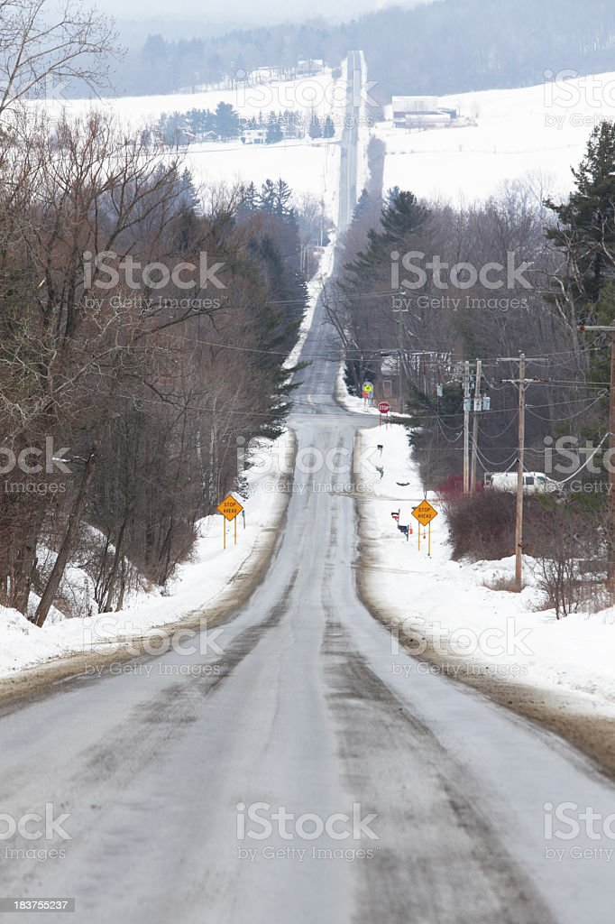 Rural Highway in Winter - Steep and Slippery royalty-free stock photo