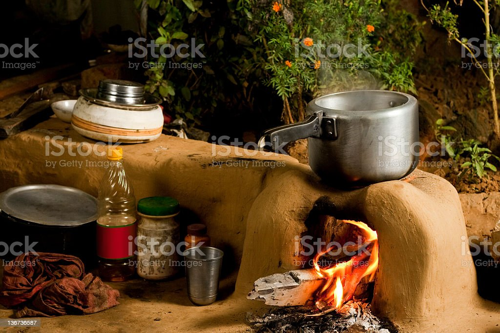 Rural Indian Kitchen. royalty-free stock photo