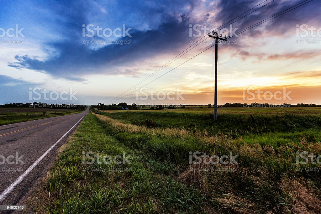 Rural Kansas Highway Morning Sunrise stock photo