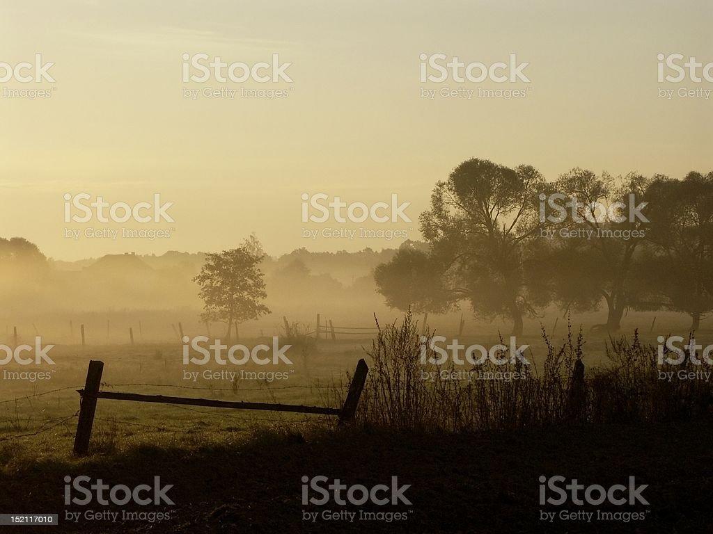Rural landscape at dawn royalty-free stock photo