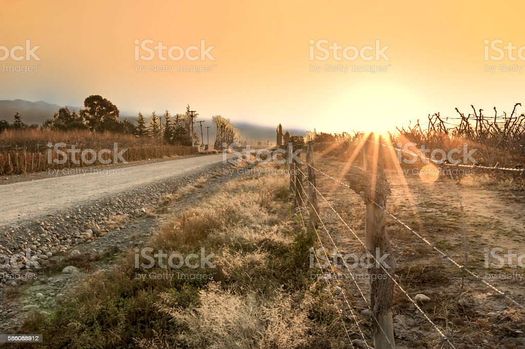 Rural landscape at sunset stock photo