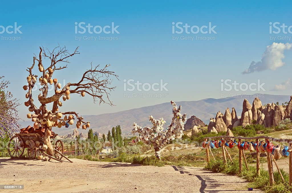 rural landscape, cart with ceramic jugs in Cappadocia, Turkey stock photo
