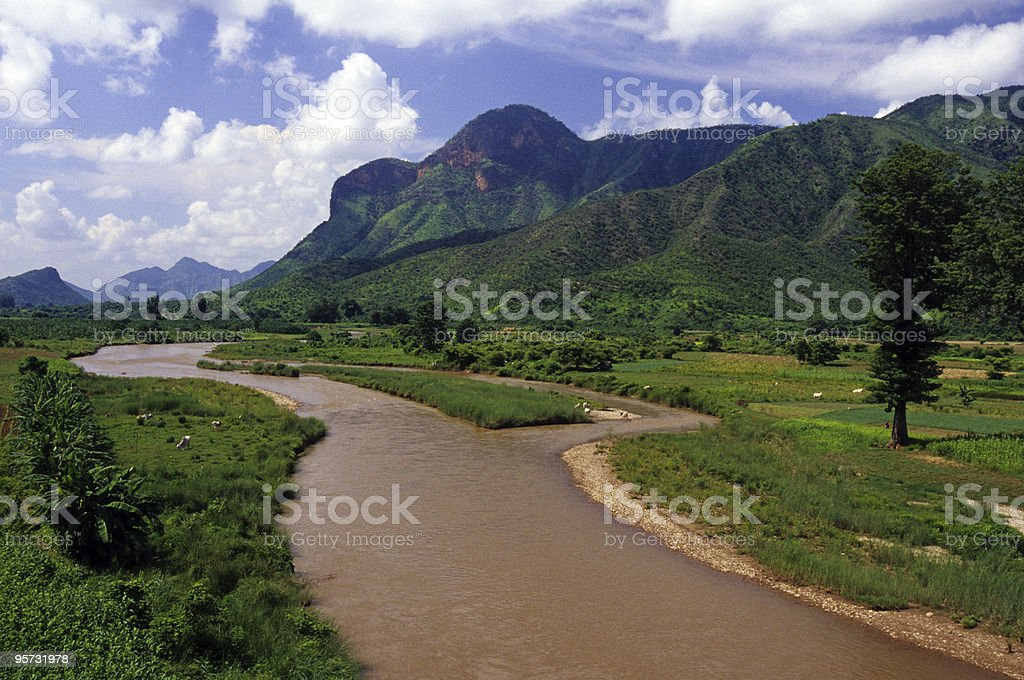 Rural landscape in Asia's Golden Triangle stock photo