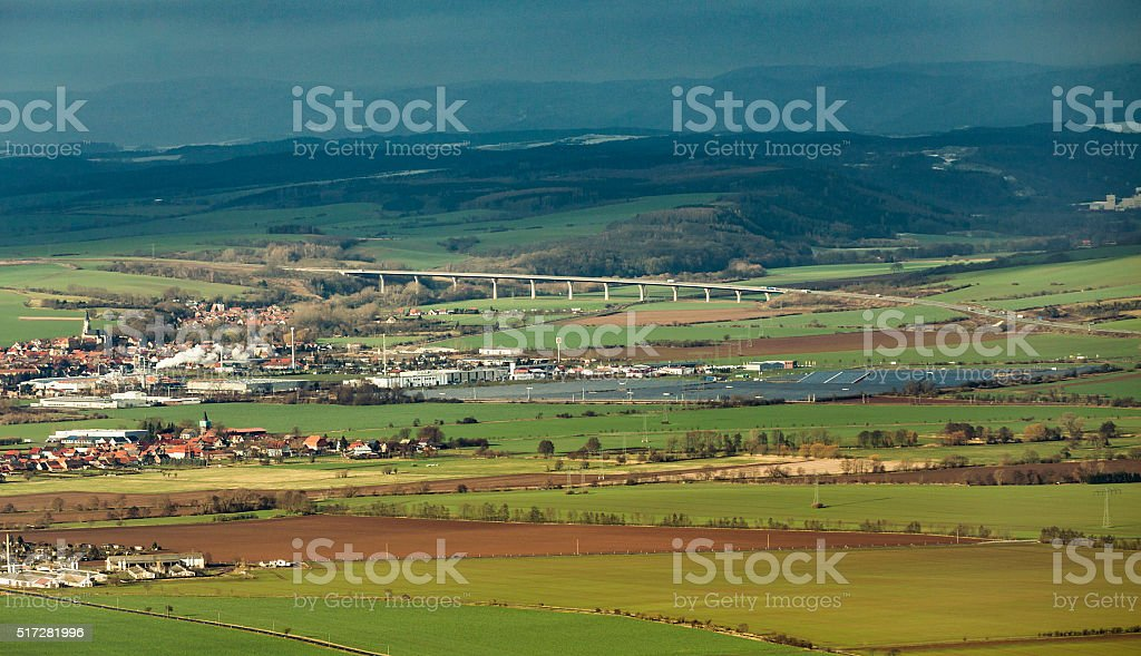 rural landscape in Kyffhaeuser land with modern new highway stock photo
