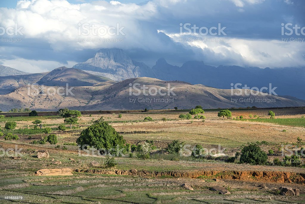 Rural landscape in Madagascar with Andringitra Massif stock photo