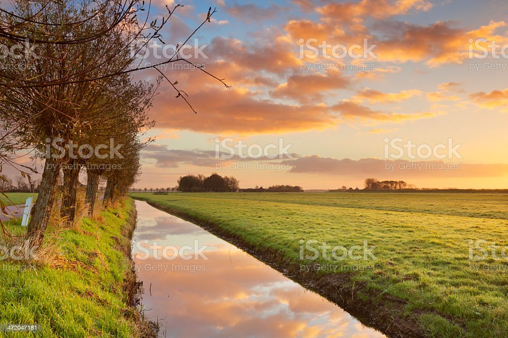 Rural landscape in The Netherlands at sunrise royalty-free stock photo