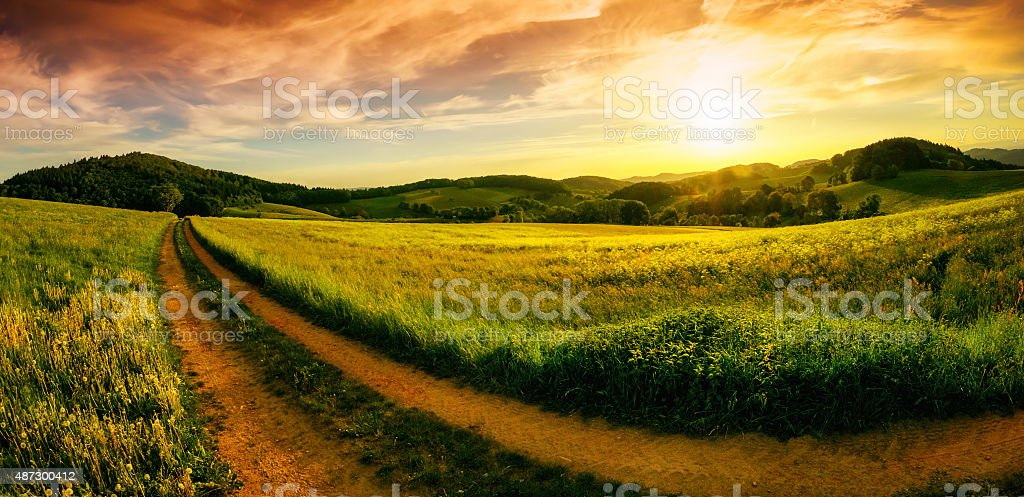 Rural landscape sunset panorama stock photo