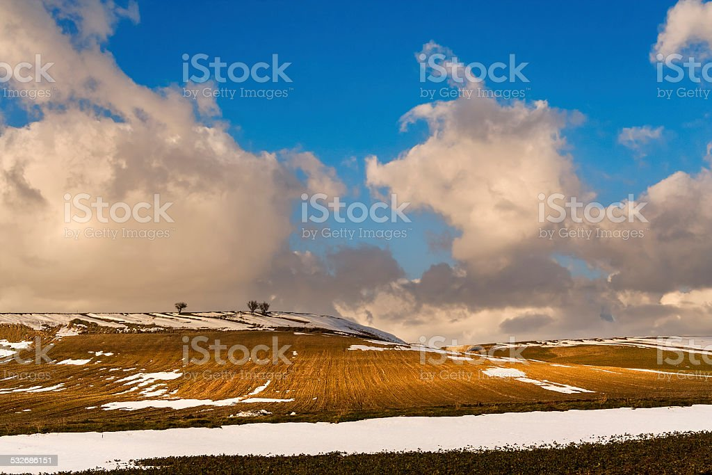 Rural Landscape Winter.Between Apuliia and Basilicata: snowy hills. -ITALY- stock photo