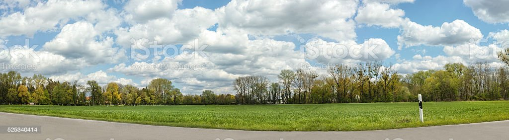Rural landscape with a road panorama royalty-free stock photo