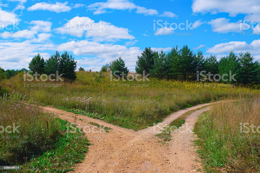 Rural landscape with crossroad stock photo