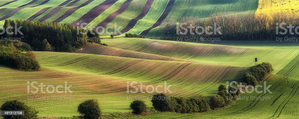 Rural landscape with fields and hunting shack stock photo
