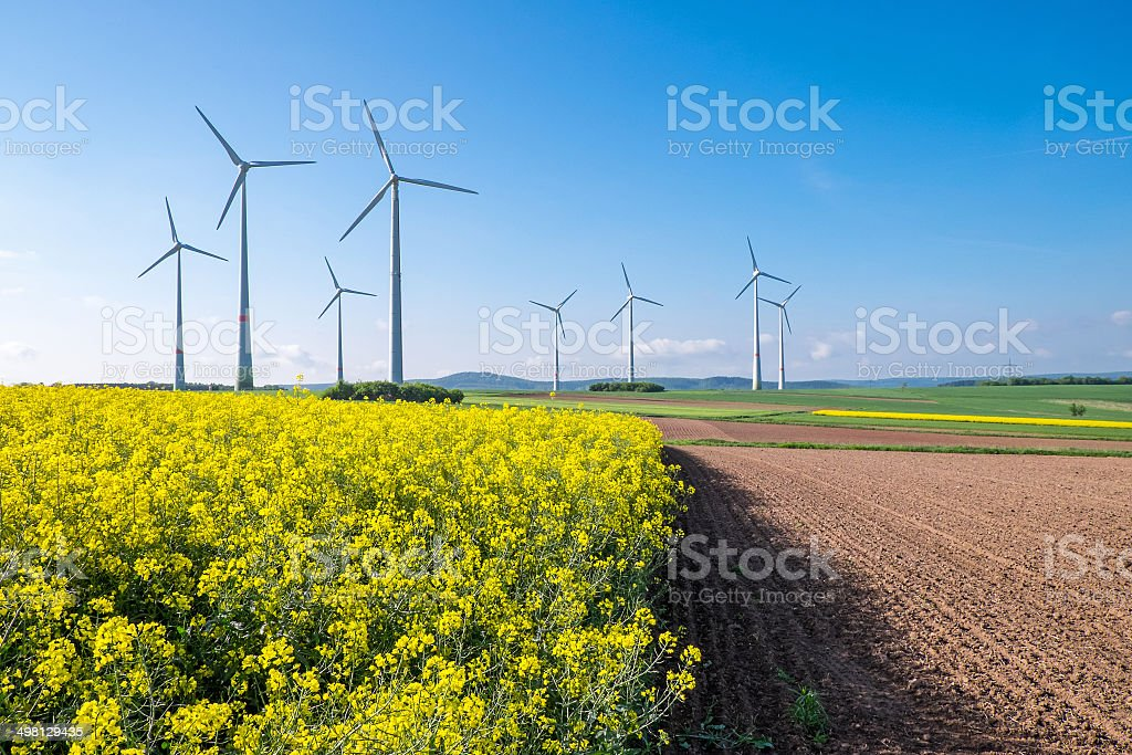 Rural landscape with windwheels stock photo