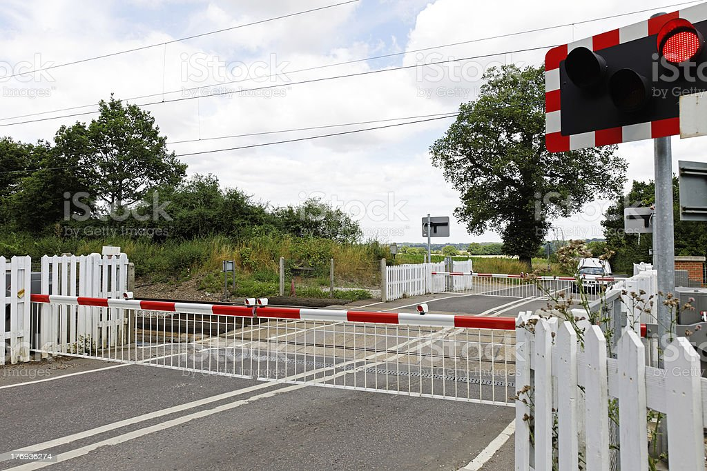 Rural Level Crossing with Barriers Closed stock photo