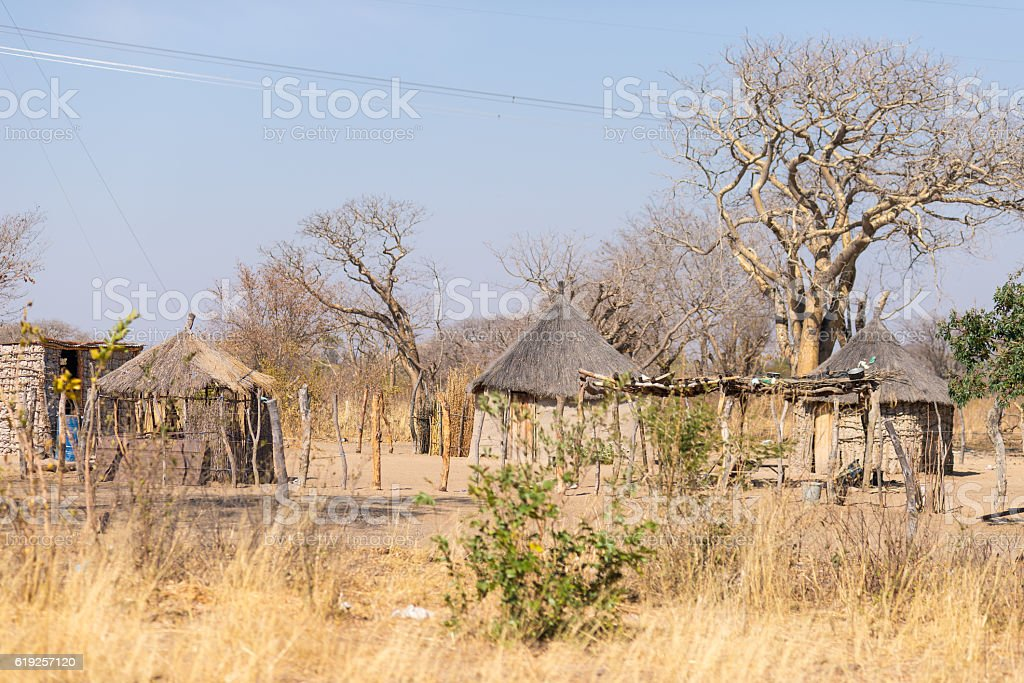 Rural life in Africa, bushman land, Namibia stock photo