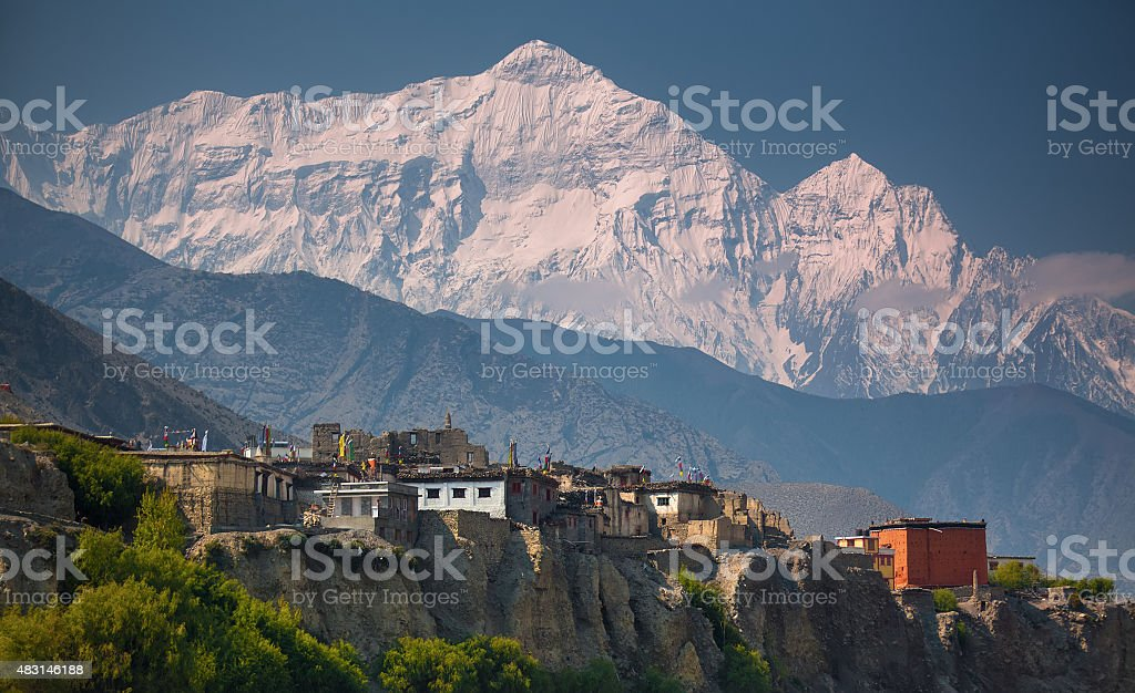 Rural life in front of Incredible Himalayas stock photo
