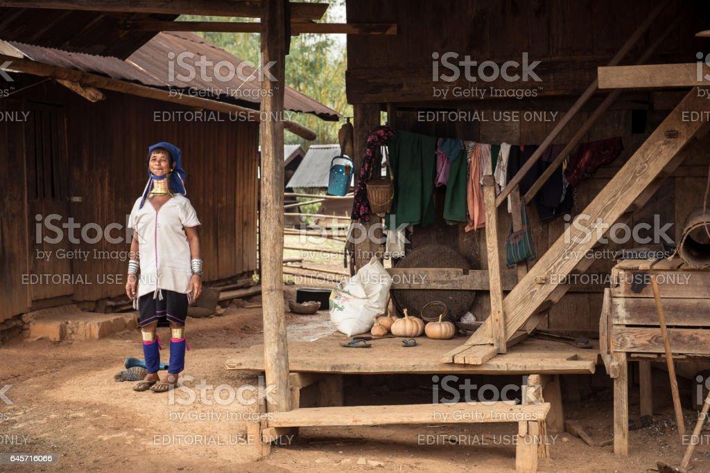 Rural life of Padaung hilltribes village in Myanmar stock photo