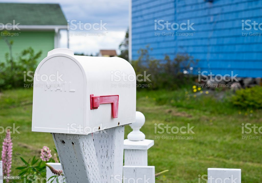 Rural mailbox in a country setting, Nova Scotia, Canada. stock photo