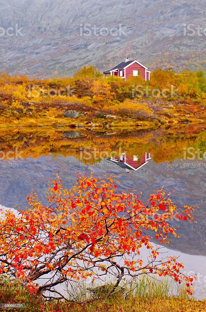 Rural mountain cabins at the mountains, Norway stock photo