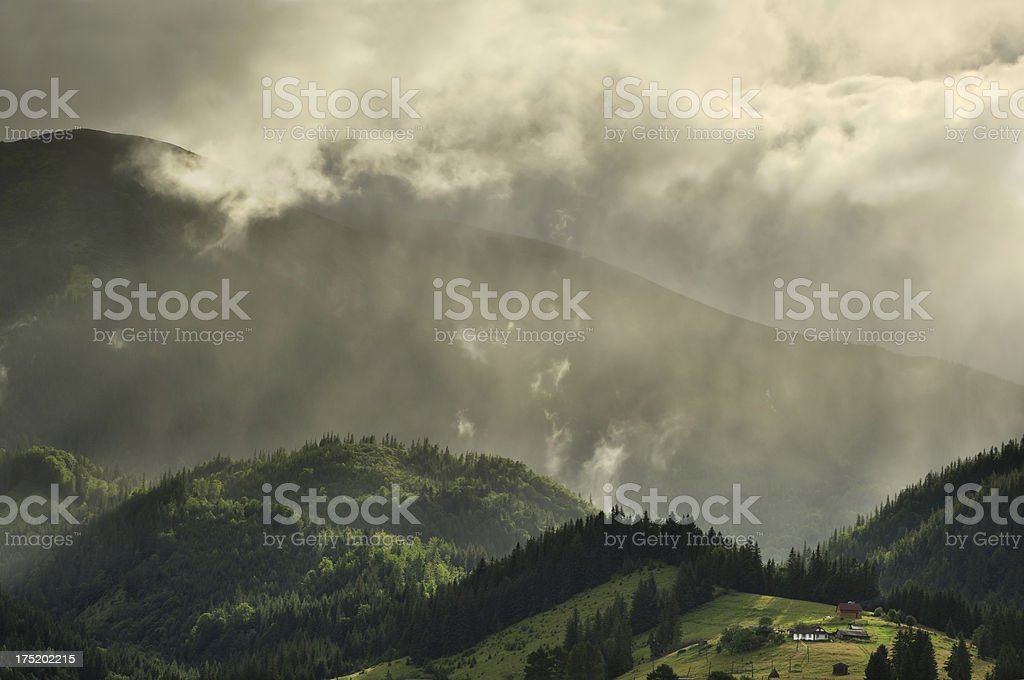 Rural mountain landscape with golden sunlight royalty-free stock photo