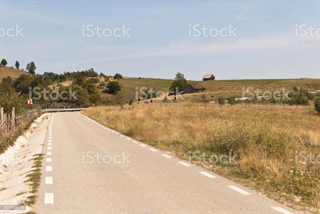 Rural mountain road stock photo