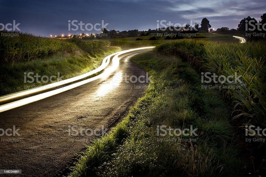Rural night road stock photo