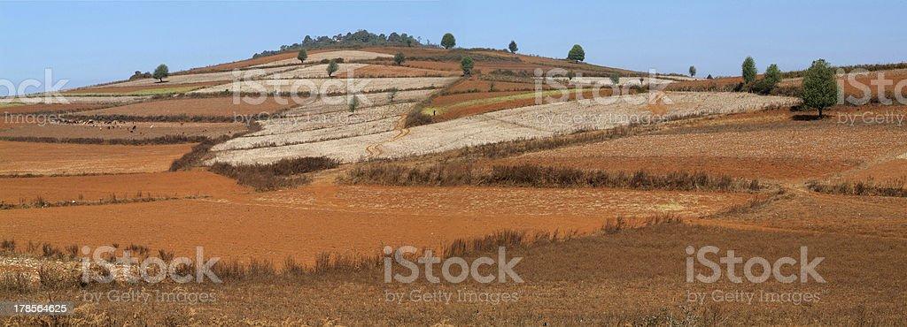 Rural panorama on the hills near Pindaya, Myanmar stock photo