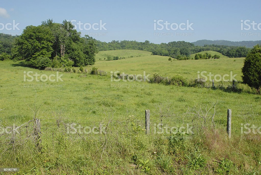Rural pastures in central Tennessee stock photo