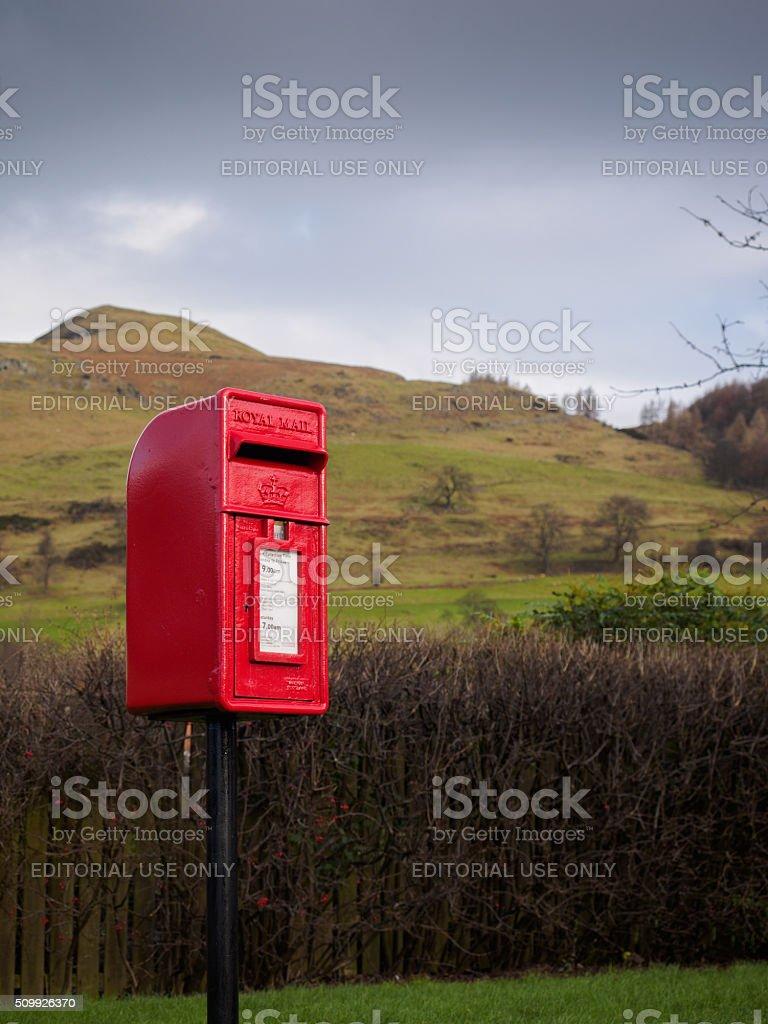 Rural postbox in Alva, Scotland, UNITED KINGDOM stock photo