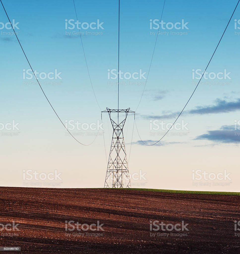 Rural Power Line stock photo