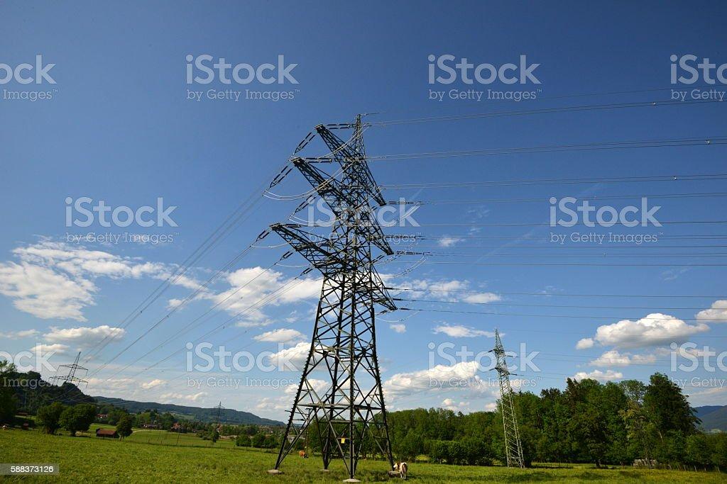 Rural Power Lines Bavaria stock photo