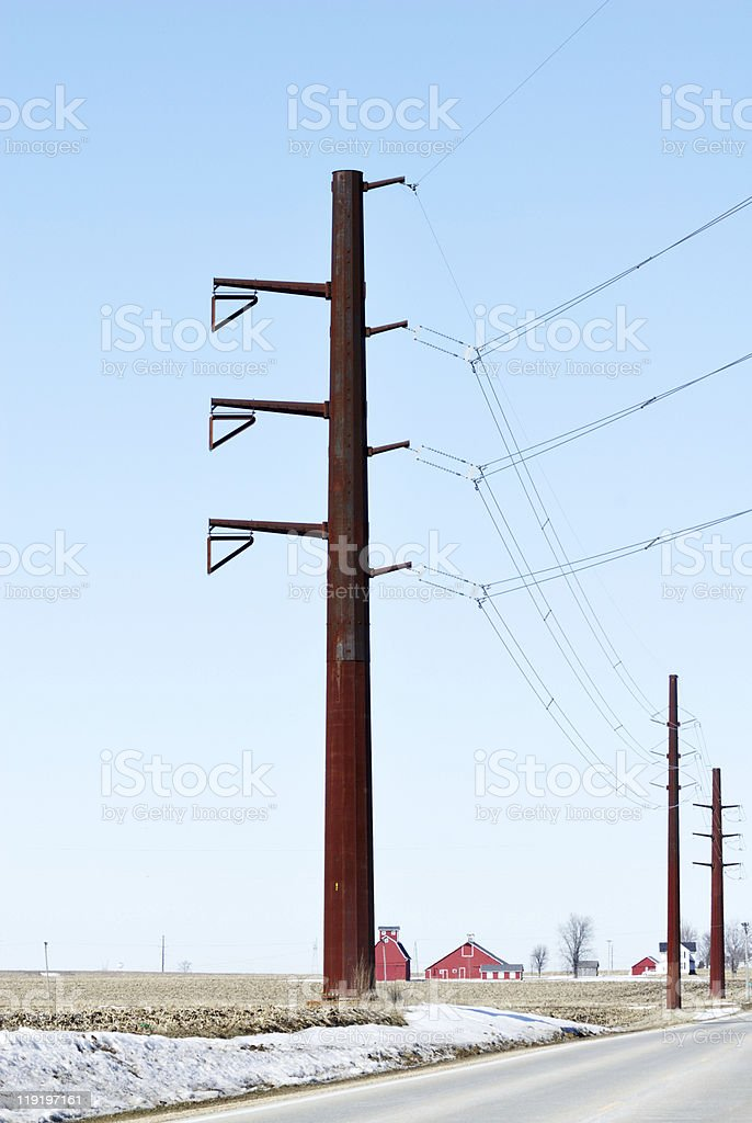 Rural Power Lines royalty-free stock photo