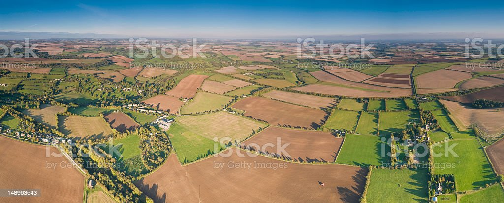 Rural quilt aerial panorama royalty-free stock photo