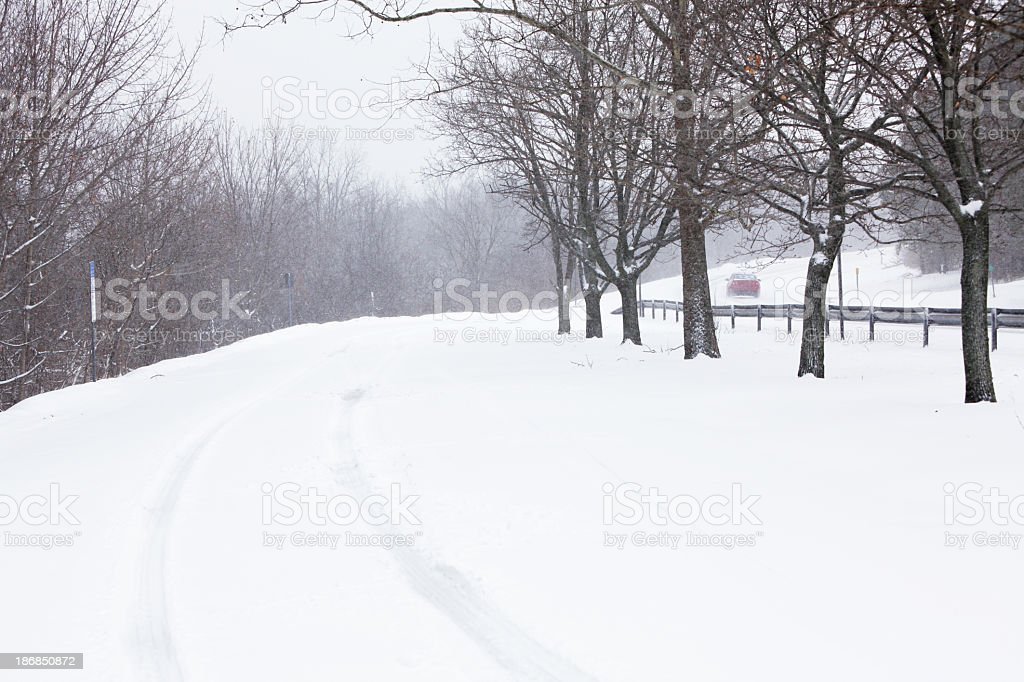 Rural Rest Stop During Winter Snow Blizzard stock photo
