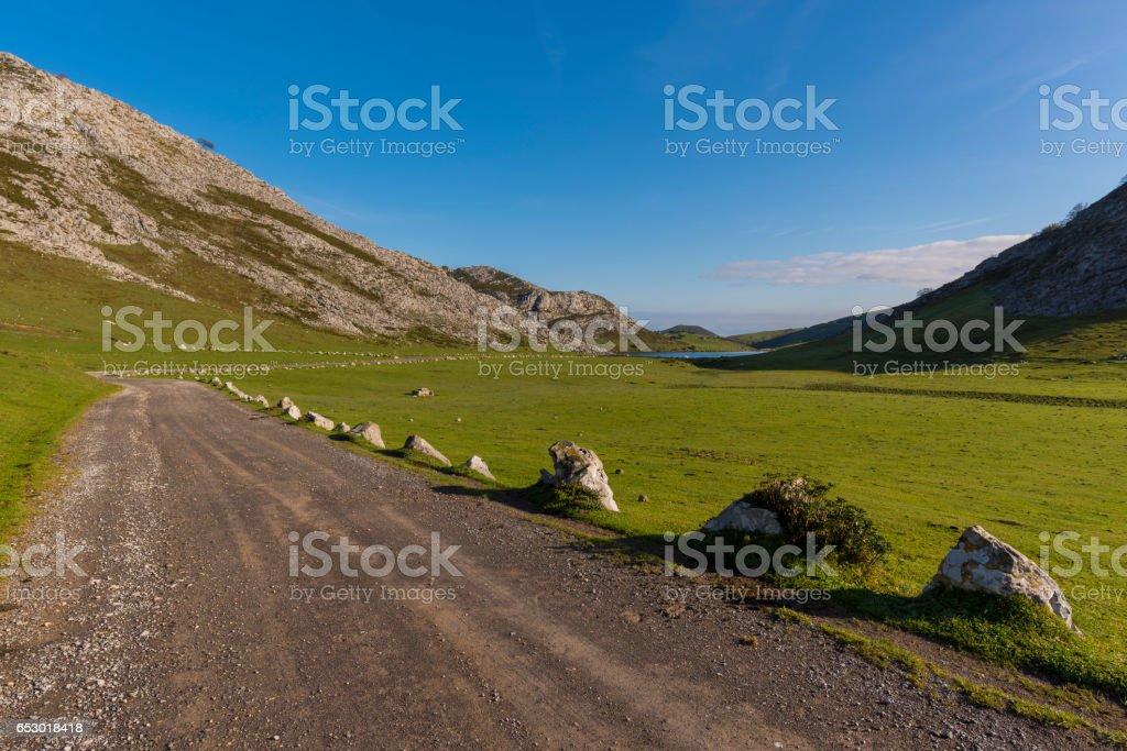 Rural road in Covadonga (Asturias, Spain). stock photo