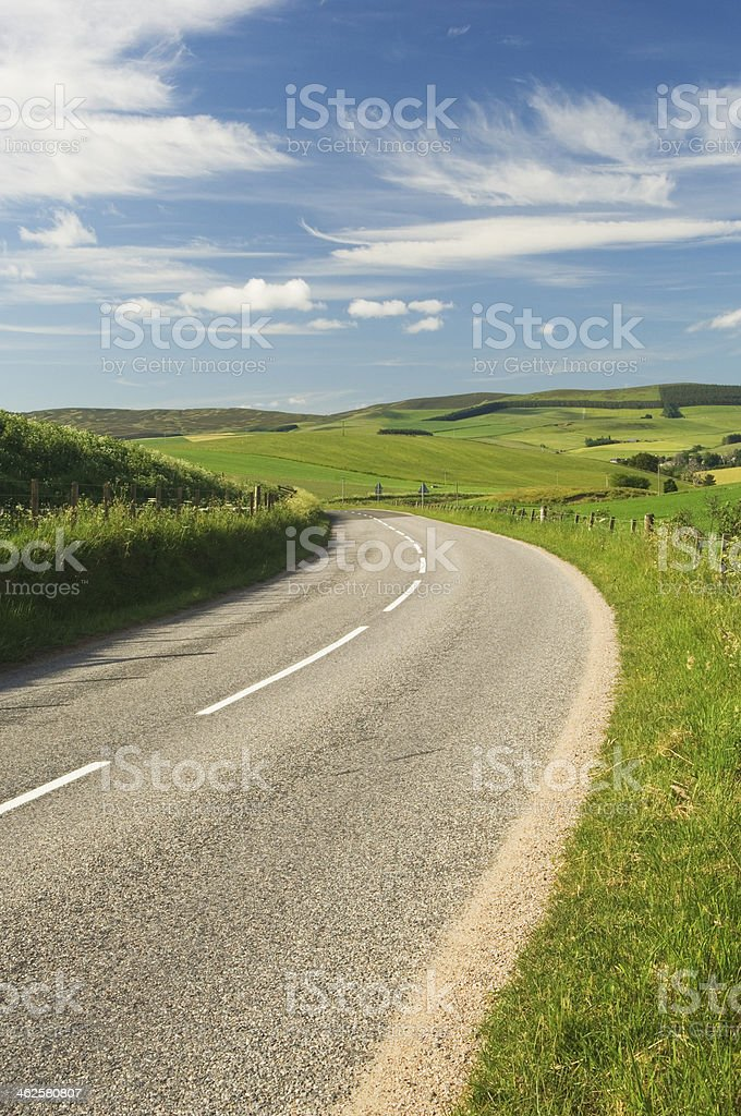 Rural road in Scotland stock photo