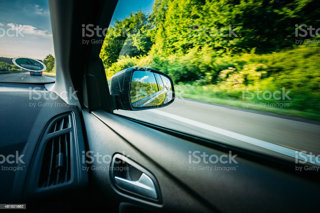 Rural Road In Summer Countryside. View From Car stock photo
