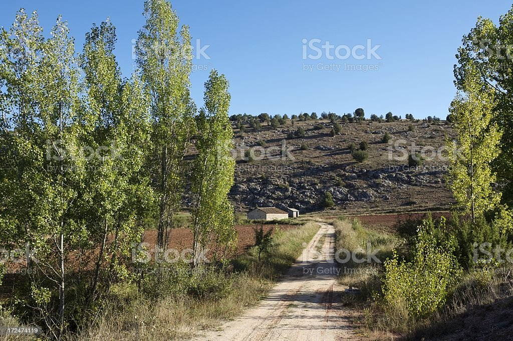Rural road on countryside stock photo