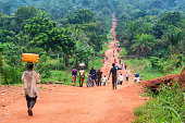 Rural Road with a lot of pedestrians, DR Congo