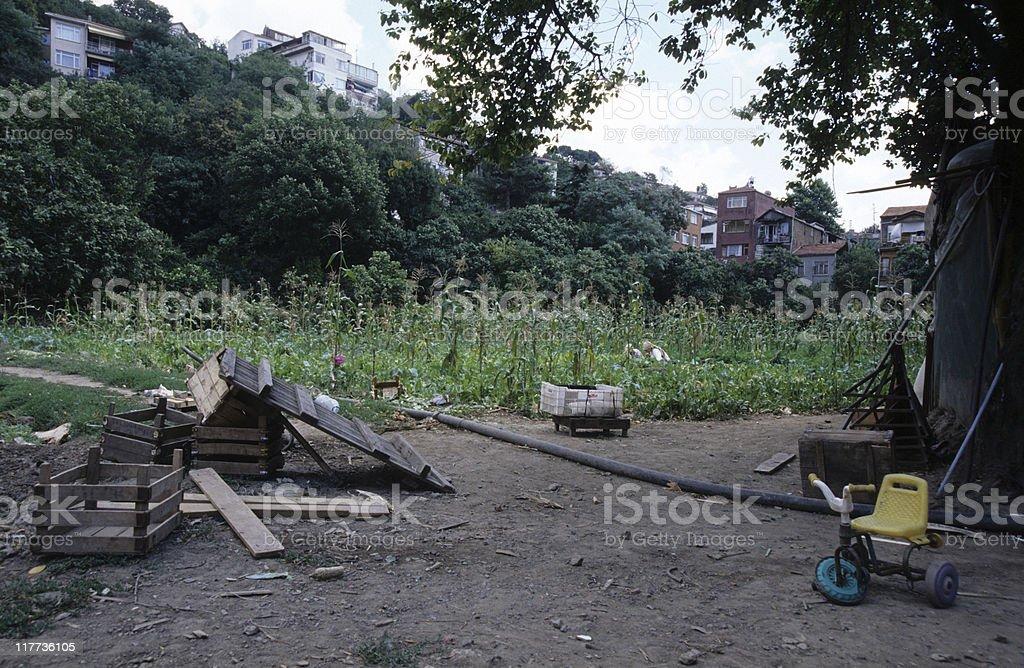 Rural scene, broken kid's bike, Istanbul, Turkey royalty-free stock photo