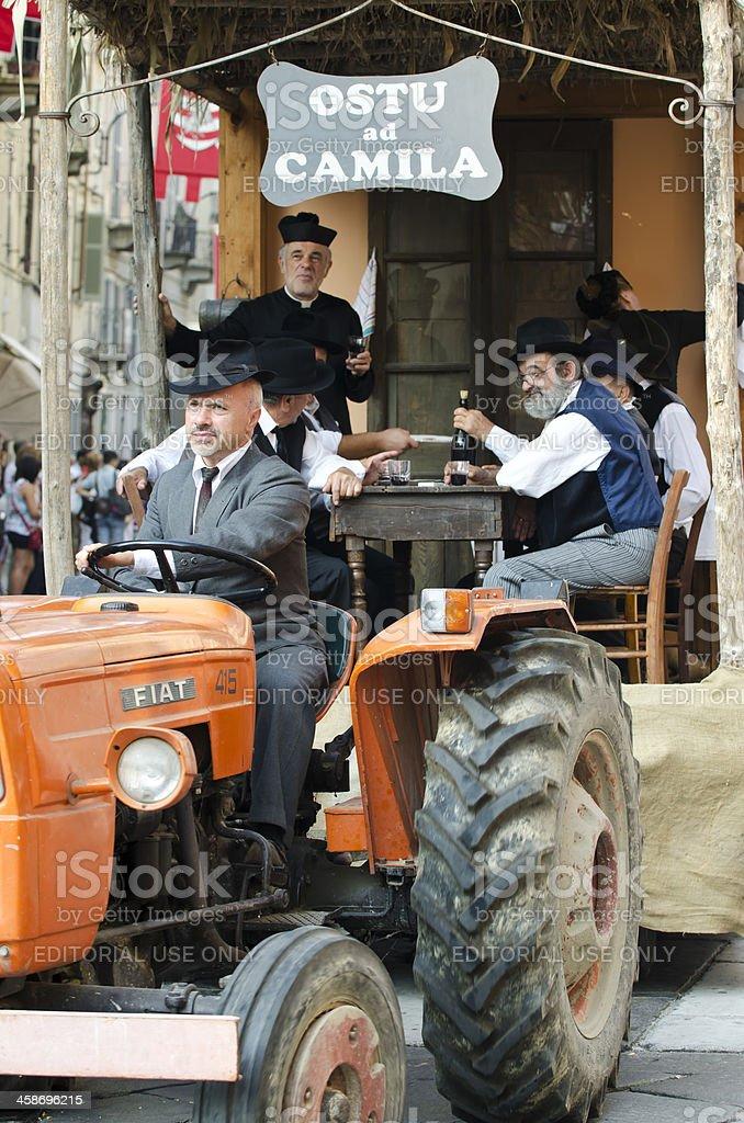 Rural scene, Farmer on tractor stock photo