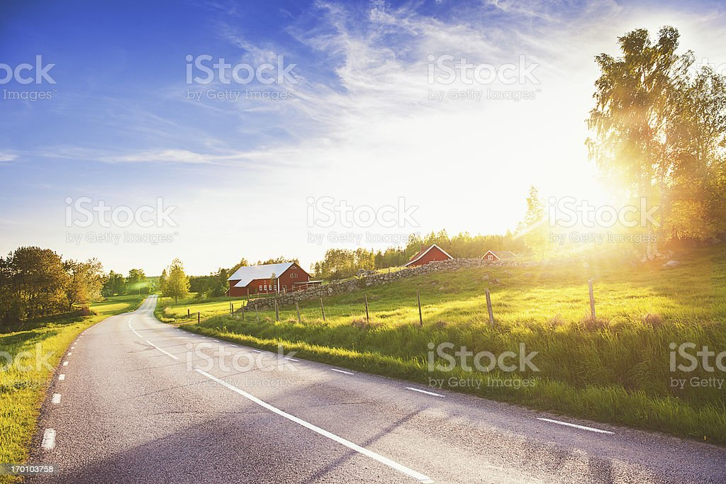 Rural scene in Linköping Sweden stock photo