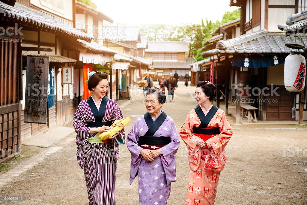 Rural scene in old Japanse village with wooden houses stock photo