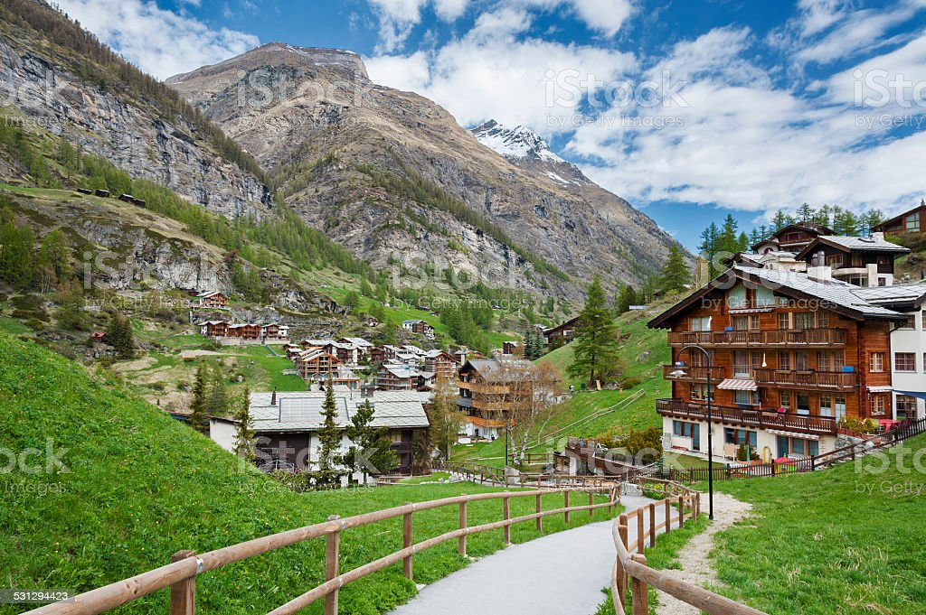 Rural scene in Zermatt, Switzerland. stock photo