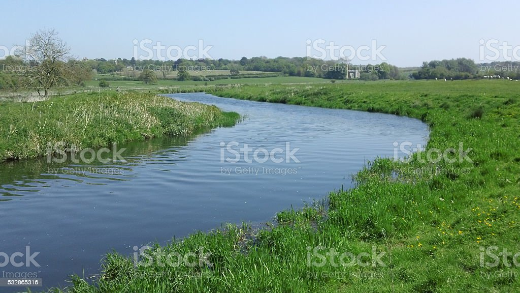 Rural scene of a bend in the river stock photo