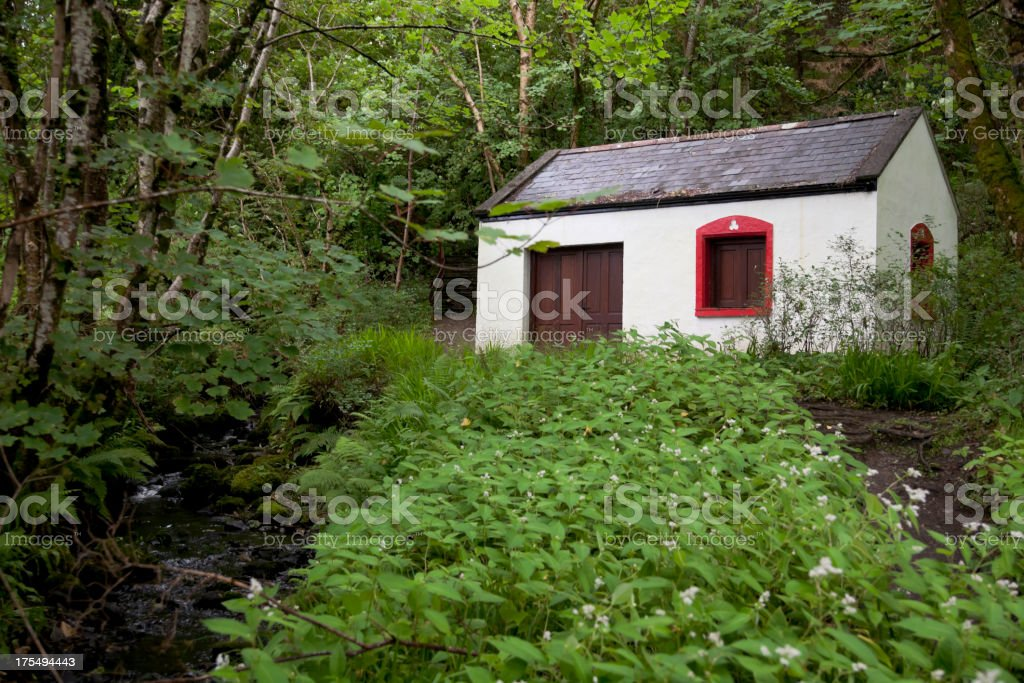 Rural Scene with small house stock photo
