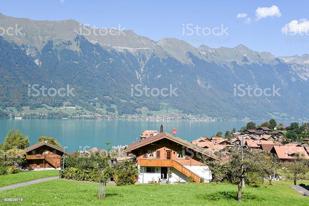 Rural scenery of Iseltwald in Jungfrau region on Switzerland stock photo