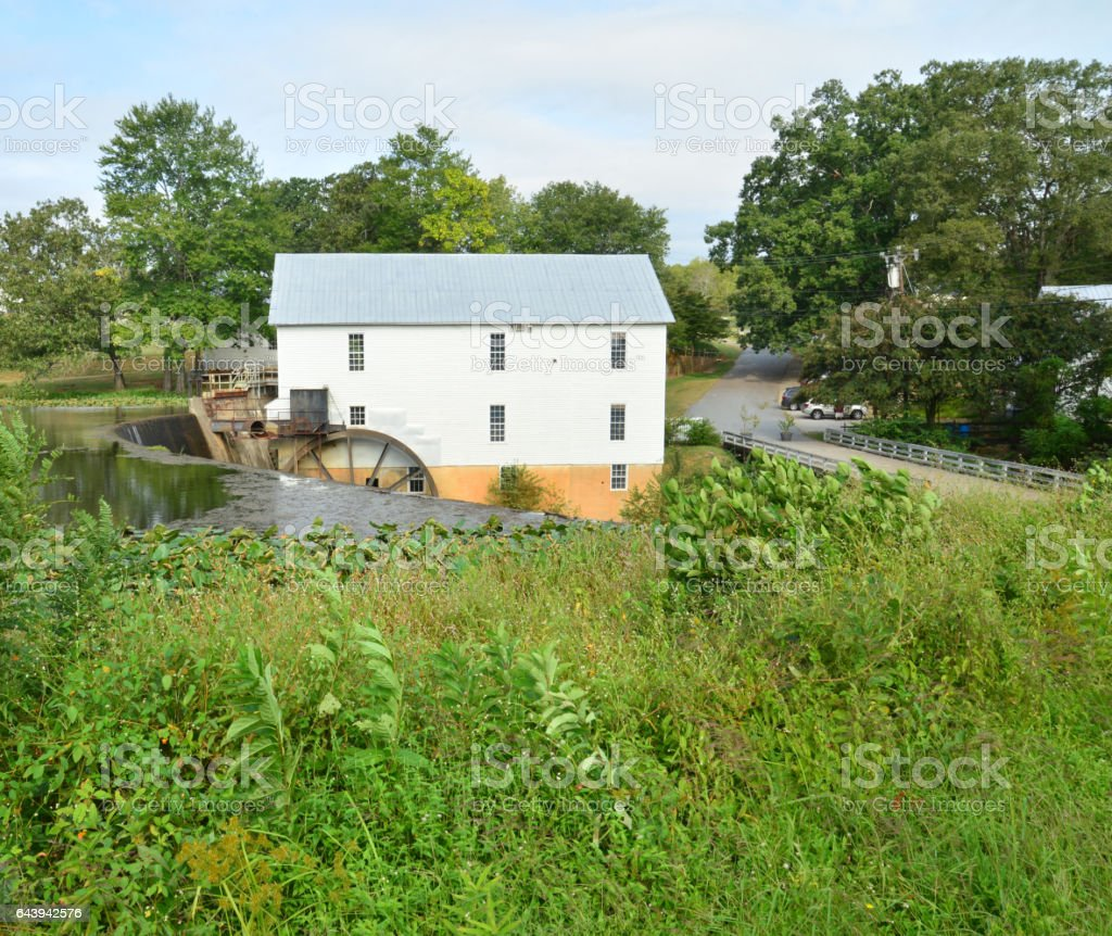 Rural scenery with watermill stock photo