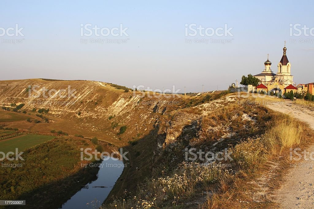 Rural scenic view of Orheiul Vechi church at sunset royalty-free stock photo