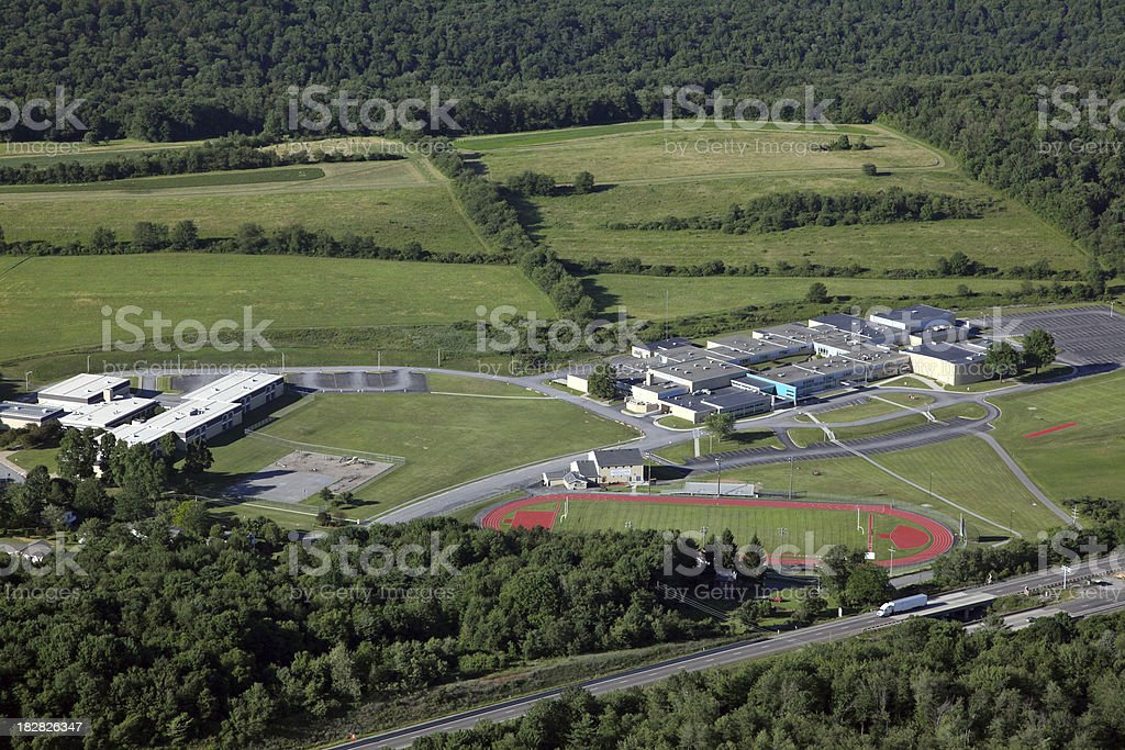 Rural School Campus Aerial royalty-free stock photo