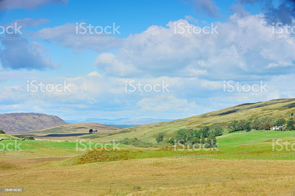 Rural Scottish scene of fieds and hills stock photo
